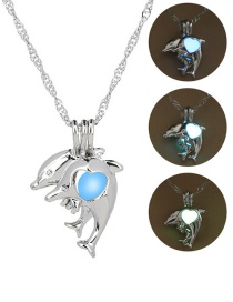 Fashion Silver Dolphin Openwork Night Bead Necklace