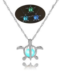 Fashion Silver Baby Turtle Hollow Night Bead Necklace
