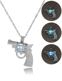 Fashion Silver Pistol Hollowed Out Luminous Bead Necklace