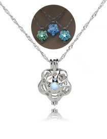 Fashion Silver Plum Blossom Hollow Bead Necklace
