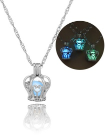 Fashion Silver Crown Hollow Night Light Pearl Necklace