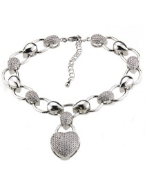 Fashion Platinum Copper Plated Zircon Oval Heart Shaped Diamond Bracelet
