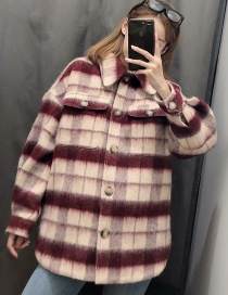 Fashion Red Wine Wool Colorblock Plaid Single-breasted Coat