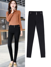 Fashion Black Solid Color Leggings