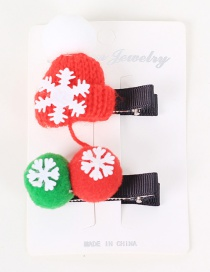 Fashion Color Cartoon Christmas Hat Christmas Tree Yarn Ball Side Clip Set