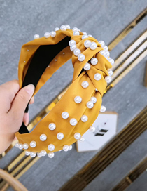 Fashion Yellow Cloth Nailed Pearl Knotted Wide-brimmed Headband