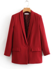 Fashion Red Front Button Pocket And Cotton Suit