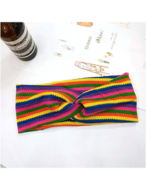 Fashion 1# Color Strip Single Layer Thin Section Wide-brimmed Striped Woolen Elastic Headband
