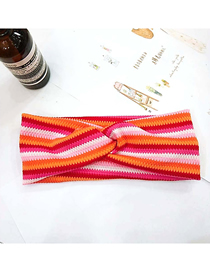Fashion 8# Color Strip Single Layer Thin Section Wide-brimmed Striped Woolen Elastic Headband