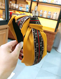 Fashion Yellow Wide-brimmed Plus Ribbon Knotted Fabric Headband