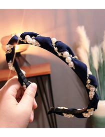 Fashion Navy Diamond Tweezer Pearl Wrapped Wavy Headband