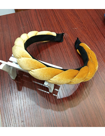 Fashion Yellow Velvet Sponge Tweezers Headband Gold Velvet Sponge Braid Braided Fabric Headband