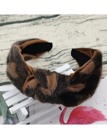 Fashion Brown Large Knotted Headband Fabric Wide-brimmed Horse Hair Hoop