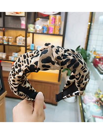 Fashion Coffee Color Leopard Wide-brimmed Knotted Headband