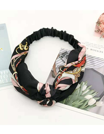 Fashion Black Two-tone Braided Hair Band Chain Pattern Wide Woven Color Matching Headband