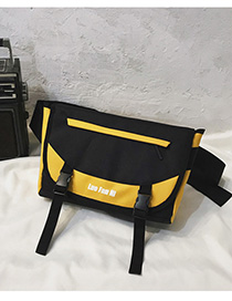 Fashion Yellow Contrast Stitching Shoulder Messenger Bag