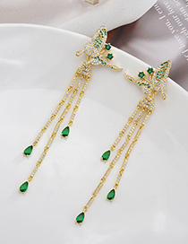 Fashion Gold S925 Sterling Silver Needle Micro Inlaid Zircon Butterfly Tassel Earrings
