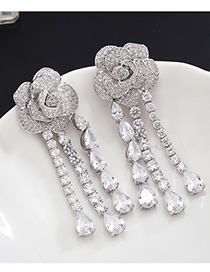 Fashion Silver S925 Sterling Silver Needle Flower Drip Micro-set Zircon Tassel Earrings