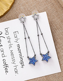 Fashion Blue 925 Silver Needle Star Earrings