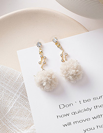 Fashion Beige 925 Silver Needle Star Moon Ball Earrings