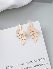 Fashion Gold 925 Silver Needle Geometric Leaf Stud Earrings
