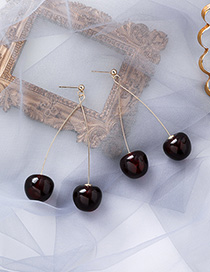 Fashion Black 925 Silver Needle Cherry Earrings