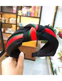 Fashion Black Cloth Color Matching Knotted Wide-brimmed Headband