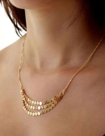 Fashion Gold Sequined Multi-layer Necklace