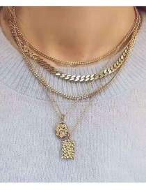 Fashion Gold Square Embossed Alloy Portrait Chain Multi-layer Necklace