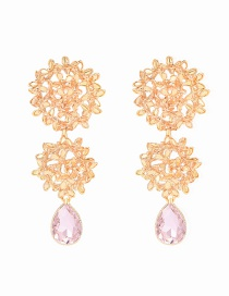 Fashion Gold Three-dimensional Hydrangea Gemstone Earrings