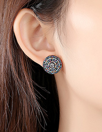 Fashion Color Copper Inlaid Zirconium Disc Earrings