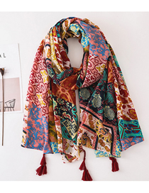Fashion Color Cotton And Linen Printed Tassel Thin Scarf