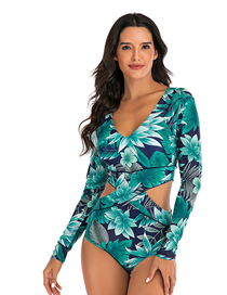 Fashion Green Flower Print One-piece Short-sleeved Surf Suit