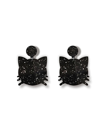 Fashion Black Glitter Cat Head Kitten Acrylic Earrings