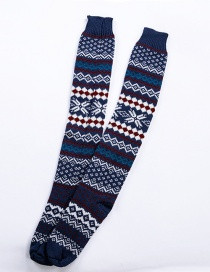 Fashion Navy Blue Long Tube Thick Wool Pile Socks