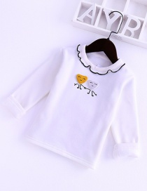 Fashion Beige Wooden Eared Collar Embroidered Long-sleeved Children's T-shirt