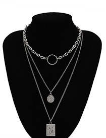 Fashion White K Geometric Chain Ring Letter Tag Stacking Necklace