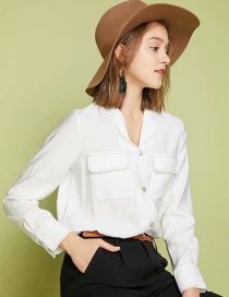 Fashion White Suit Collar Long Sleeve Open Line Shirt