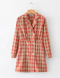 Fashion Red Plaid Suit Collar Dress