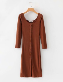Fashion Coffee Color Knit Long Dress