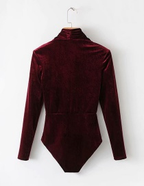 Fashion Red Wine Stand Collar Velvet Jumpsuit