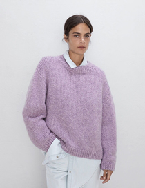 Fashion Purple Knitted Monochrome Sweater