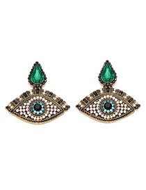 Fashion Green Eye Full Of Earrings