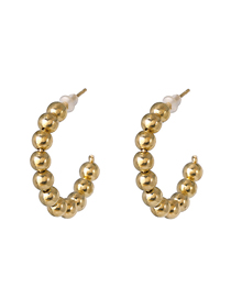 Fashion Golden Small C-shaped Plated Pearl Hoop Earrings