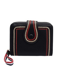 Fashion Black 20 Fold Of Embroidered Short Wallet