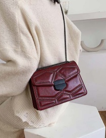 Fashion Red Wine Rivet One-shoulder Chain Messenger Bag