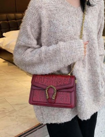 Fashion Red Wine Embossed Chain Messenger Bag