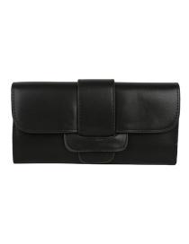 Fashion Black 3 Fold Long Belt Buckle Oil Side Change Clip 2 Piece Set