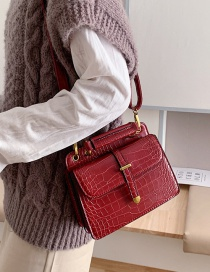 Fashion Red Crocodile Pattern Shoulder Bag