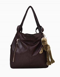 Fashion Brown Solid Color Soft Leather Backpack
